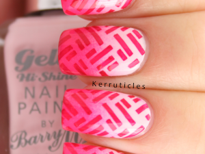 Pink gradient stamped Barry M nails
