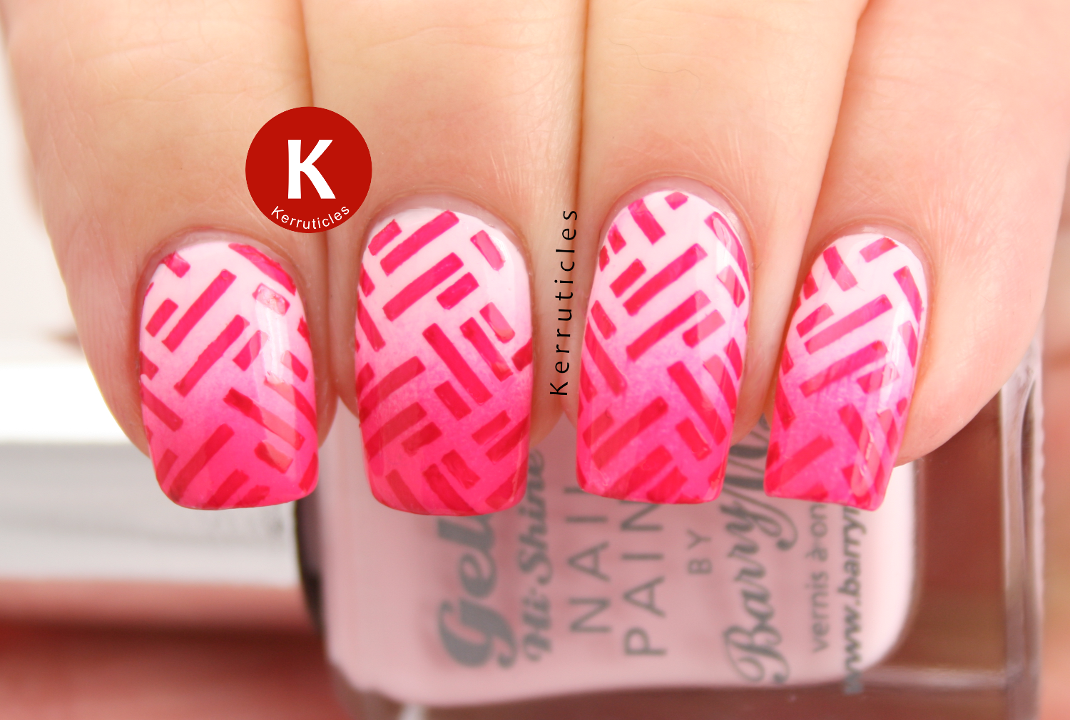 Pink gradient stamped nails using Barry M: Rose Hip, Dragon Fruit, Pink Punch and Pomegranate