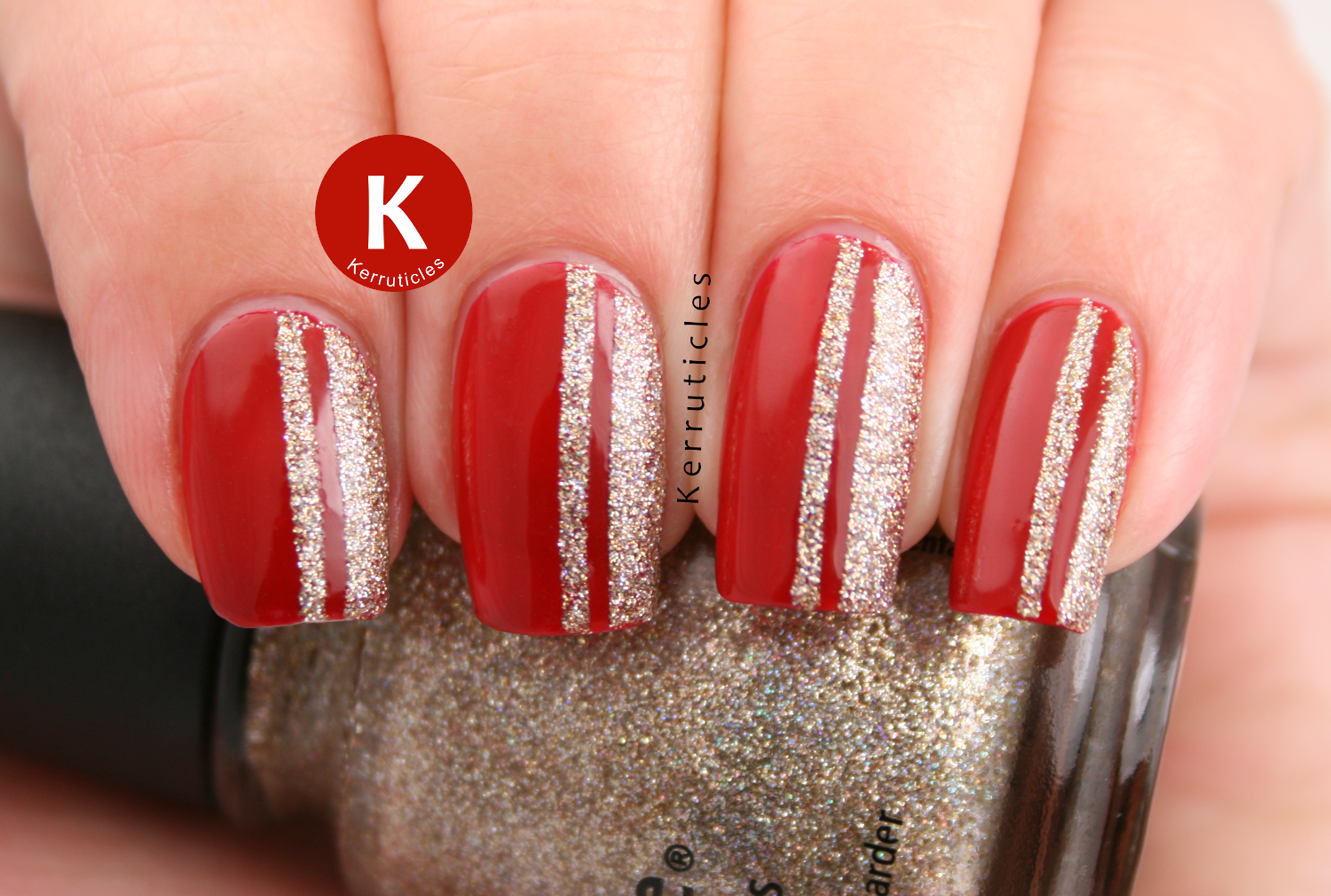 Red with glittery gold stripes | Kerruticles