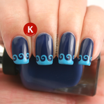 Blue wavy stencilled tips