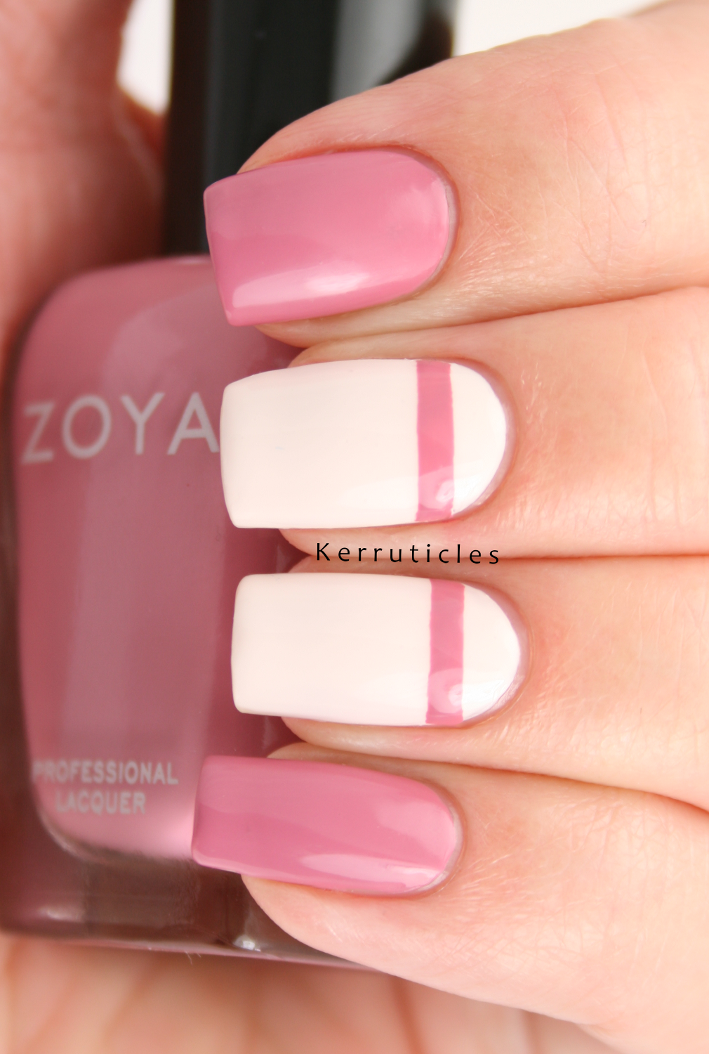 Pink Stripes On Cream Z Is For Zoya Zanna