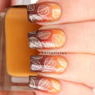Autumnal leaves using Barry M Mustard, Paprika, Cocoa and Foil Effects Gold