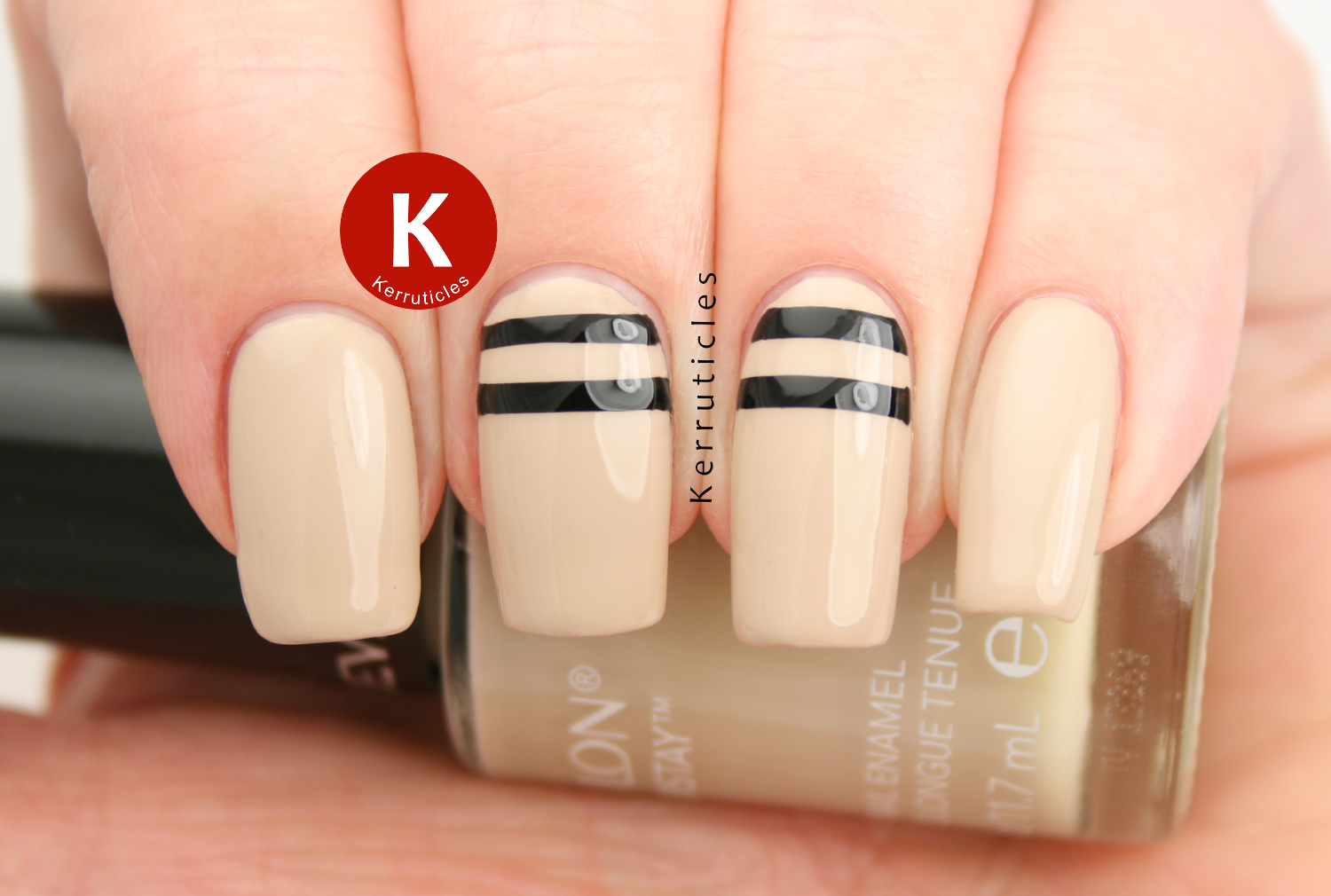 Beige with stencilled black lines, using Revlon Bare Bones, W7 Black and smART Nails stencil P018