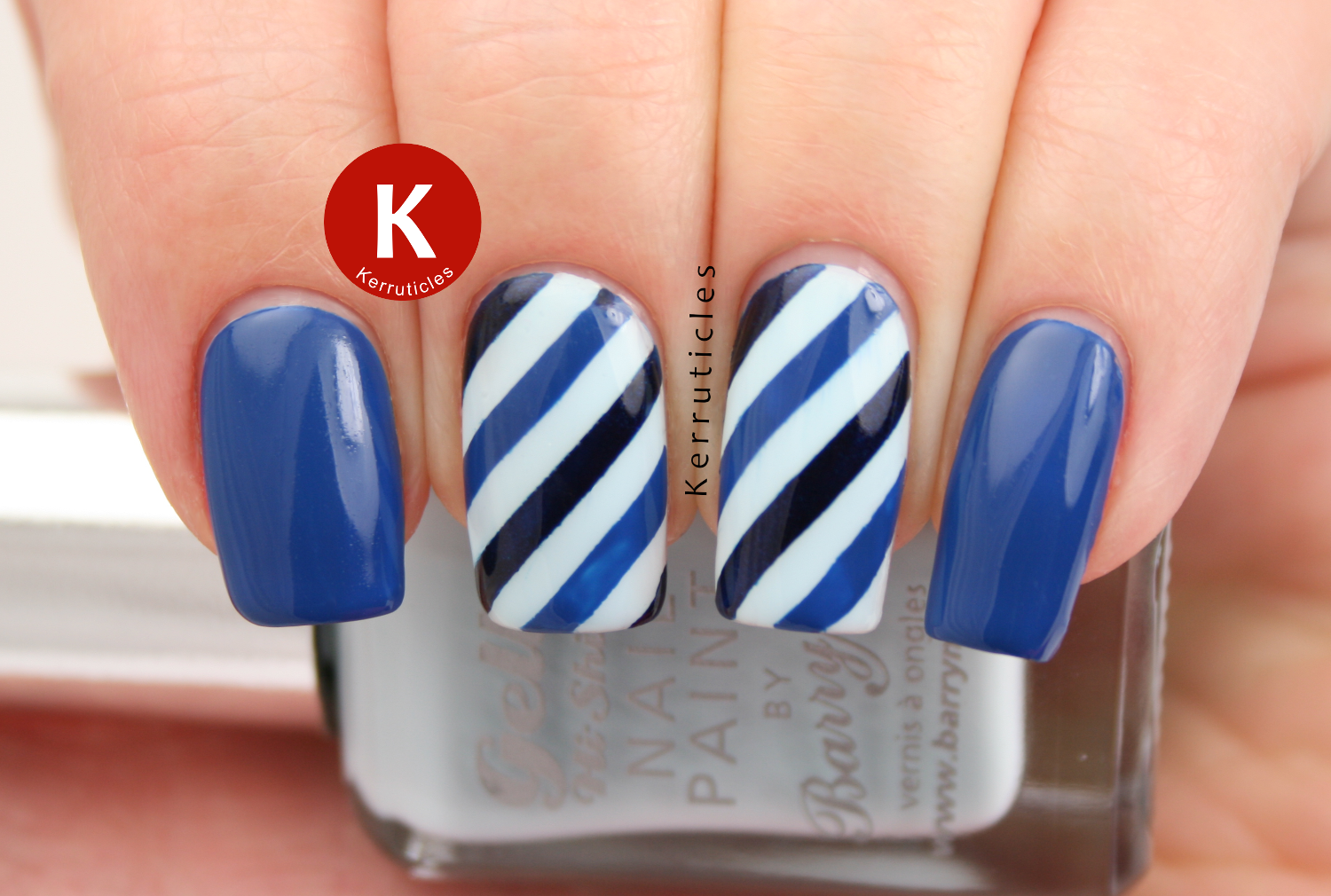 Blue diagonal stripes using Barry M Hucklebury, Essie Mezmerised and Orly In The Navy