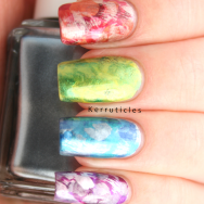 Brush stroke metallics skittle nails