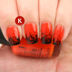 Halloween orange and black needle drag dry marble