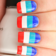 Multi-coloured stripes bold nails