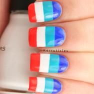 Multi-coloured stripes bold nails