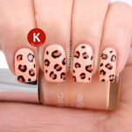 Peach leopard print Nails Inc You're A Peach IG