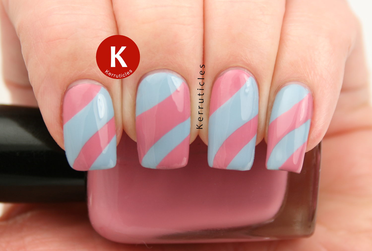 Pink and blue curved sections using Barry M Elderberry and Zoya Zanna