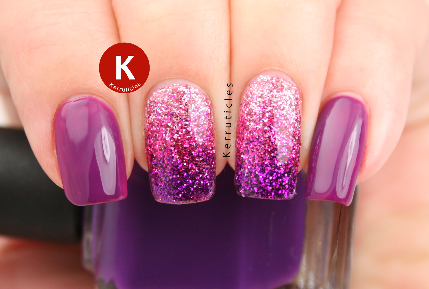 Pink and purple loose glitter gradient