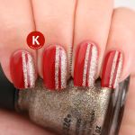 Red with gold glitter stripes China Glaze IG