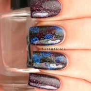 """Splodge"" manicure using Zoya Storm, Zoya Dream and Zoya Payton"