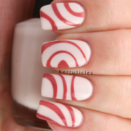 Pink swirls on cream, using smART nails stencil p053