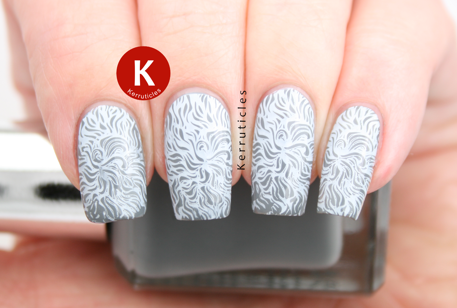 Barry M Chai stamped with Konad white using Winstonia The Carnival