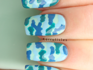 Blue and green camouflage using Nail Geek polishes in: Peppermint, Dreams, Inbetween and Live Fearless