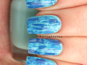 Blue distressed nails using LA Colors Beach Babe, Revlon Coastal and Revlon Indigo Night