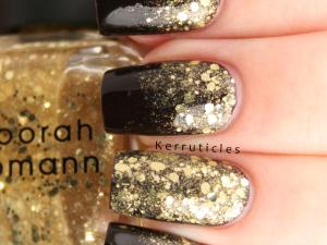 Gold glitter gradient using W7 Black Cherry and Deborah Lippmann Boom Boom Pow