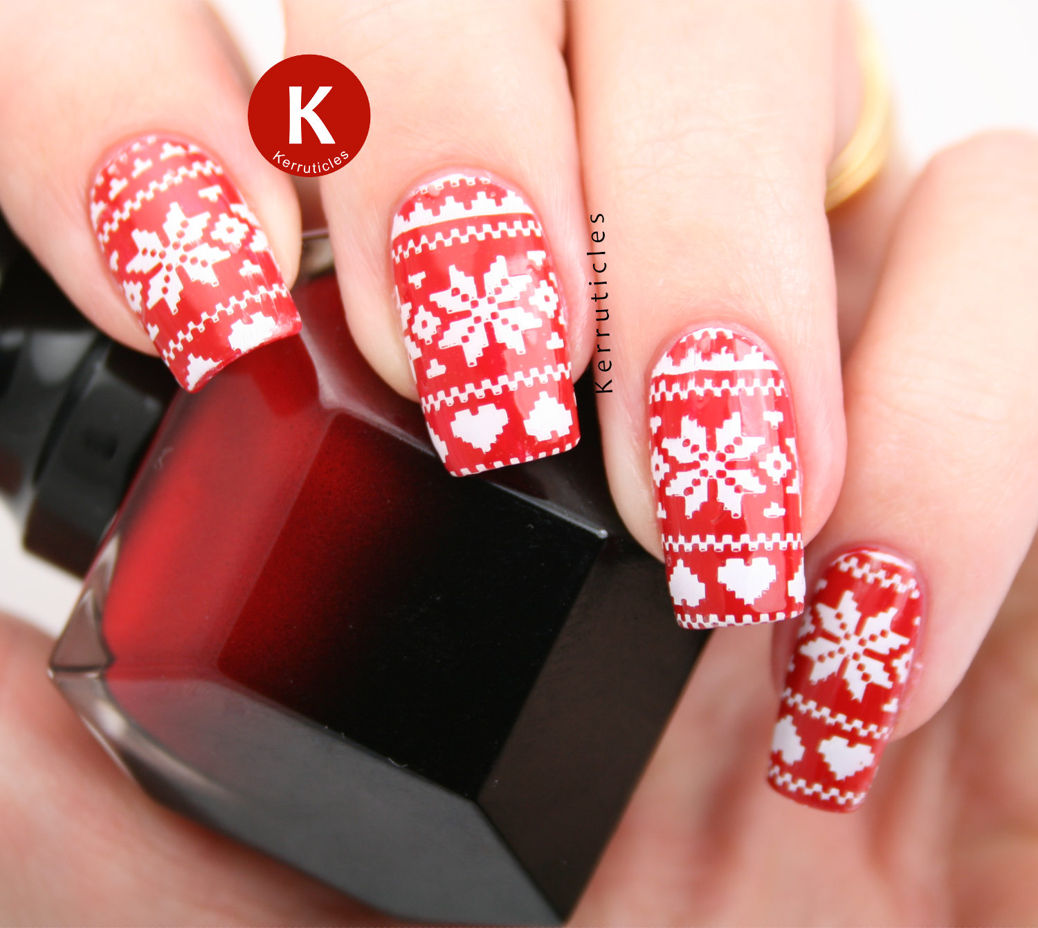 Stamped red and white Christmas jumpers using Rouge Louboutin, Konad White and Nailz Craze NC 03