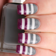 Grey, purple and white lines, using OPI My Boyfriend Scales Walls, Barry M Chai and Barry M Bright Purple