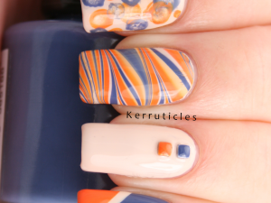 """Orange, blue and cream """"kitchen sink"""" manicure, using OPI My Vampire Is Buff, Rimmel Navy Seal and Barry M Mango"""