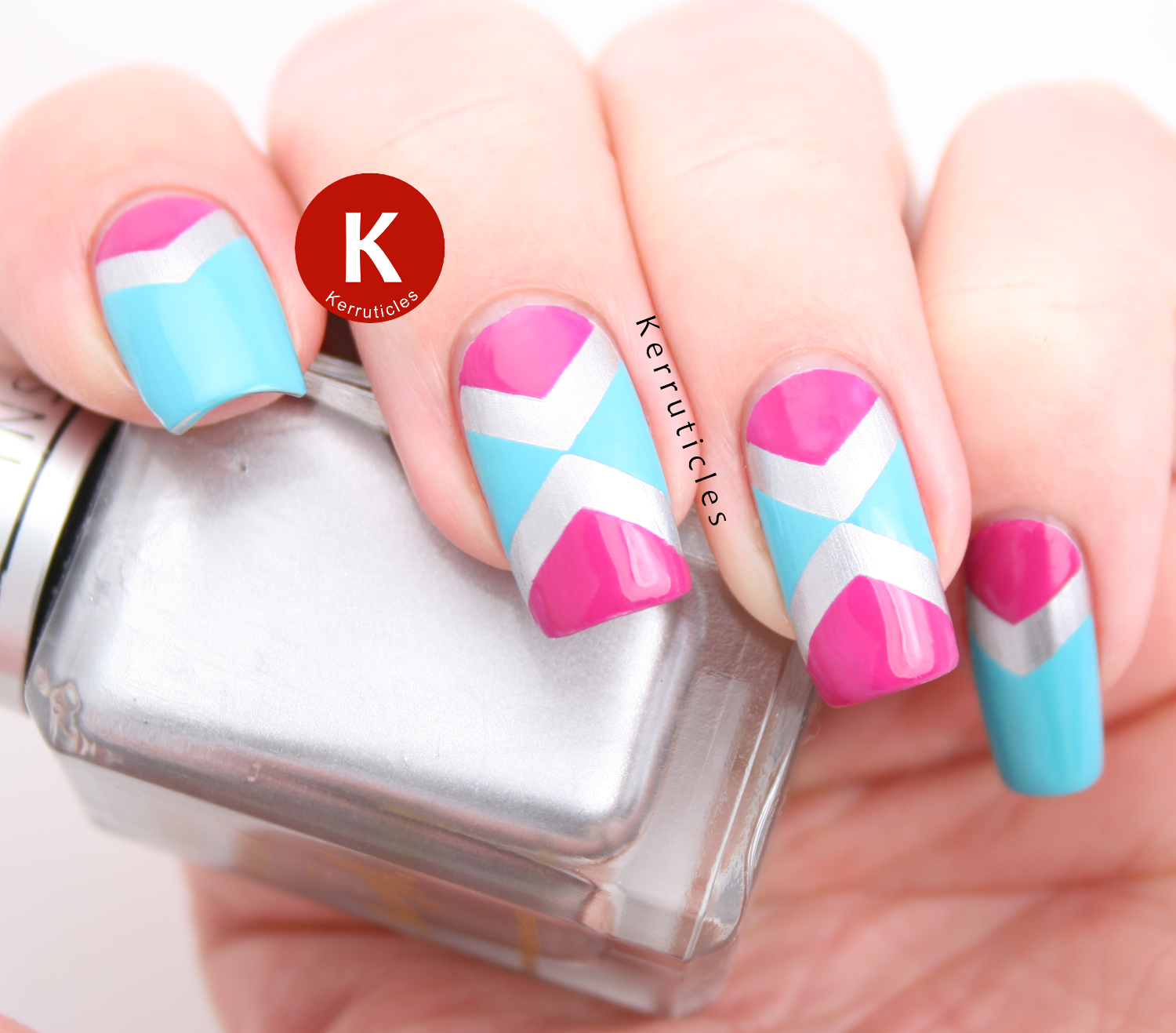 Pink and Aqua Tape Manicure (52 Week Challenge) | Kerruticles