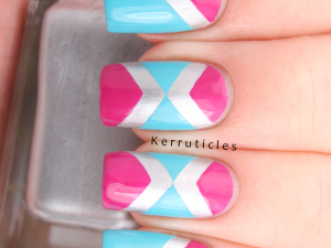 Pink, aqua and silver tape manicure with chevrons using Barry M Foil Effects Silver, Turquoise and Fuchsia