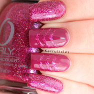Pink holographic chevrons using Butter London Queen Vic and Orly Miss Conduct