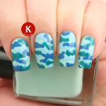 Blue and green camouflage using Nail Geek
