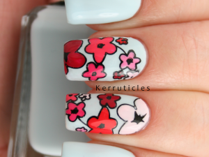 Floral nails advanced stamping decals, using Barry M polishes