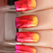 Gold, red and pink gradient using foils