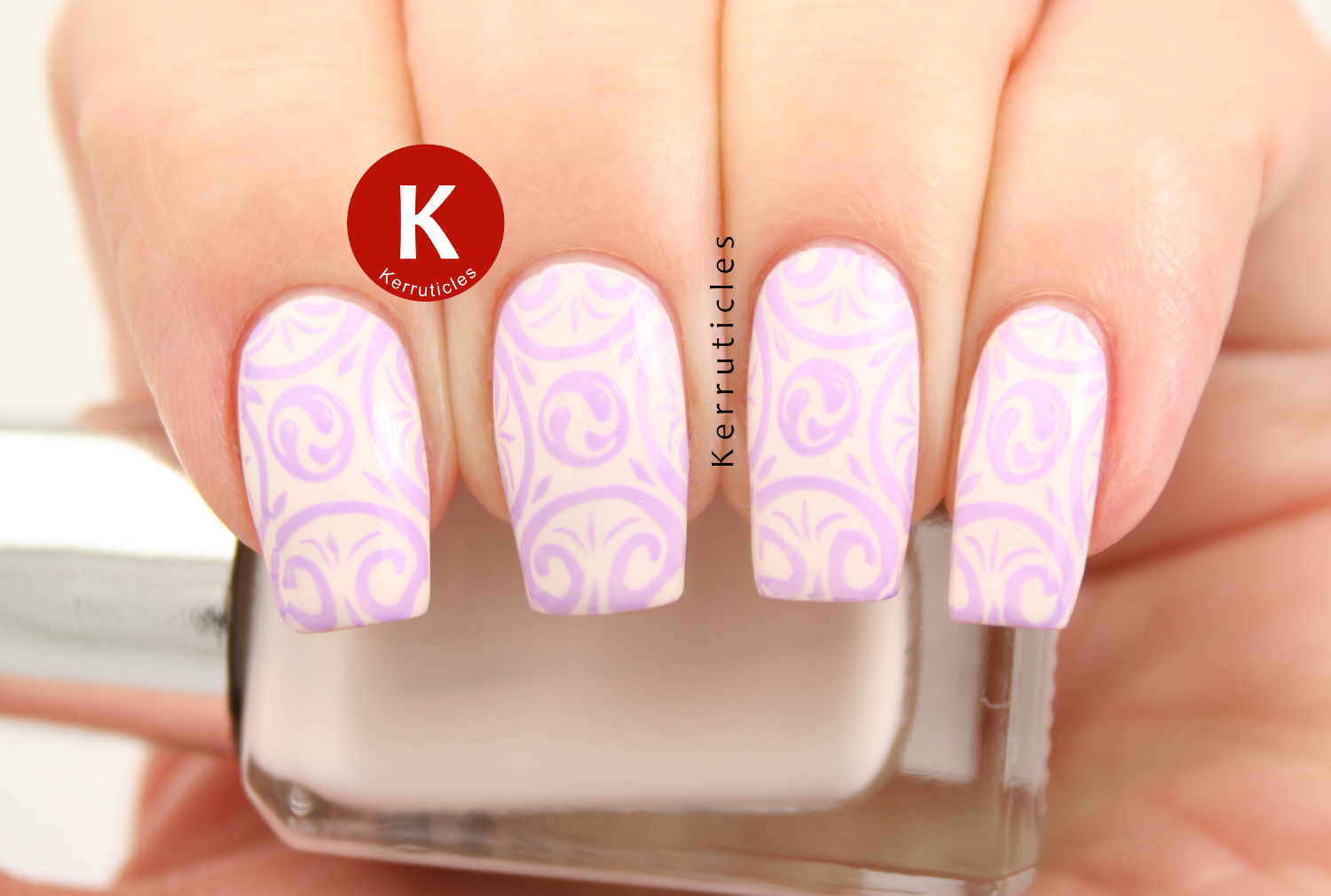 Barry M Coconut stamped with MoYou Nails Lilac using Pro Board VII