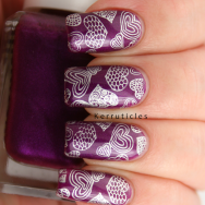 Purple with silver stamped hearts using Barry M Orchid, Barry M Foil Effects Silver and Born Pretty Store QA86