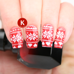 Red and white Christmas jumper sweater nails
