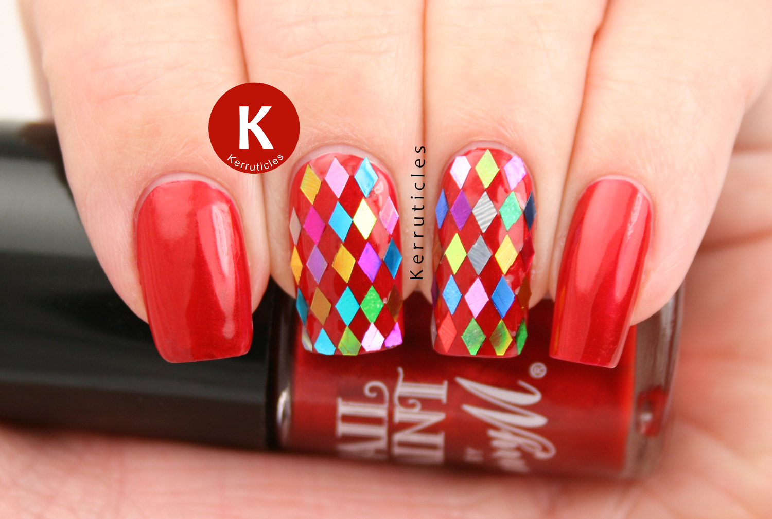 Barry M Retro Red with multi-coloured diamond glequins