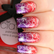 Stamped red and purple gradient using Ciaté Kitten Heels, A England Avalon, Born Pretty Store BP-24 and Barry M Foil Effects Silver
