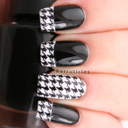 Black and white houndstooth tips using Born Pretty Store water decals, Barry M Cotton and W7 Black