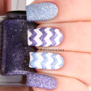 Blue and purple textured glitter zigzags using 2true Eva, 2true Naomi and Barry M Cotton