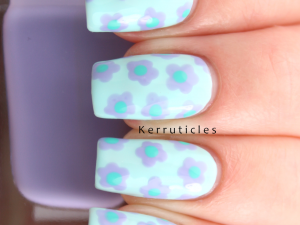 Green and lilac dotted flowers using Barry M Sugar Apple, Barry M Prickly Pear and Barry M Greenberry