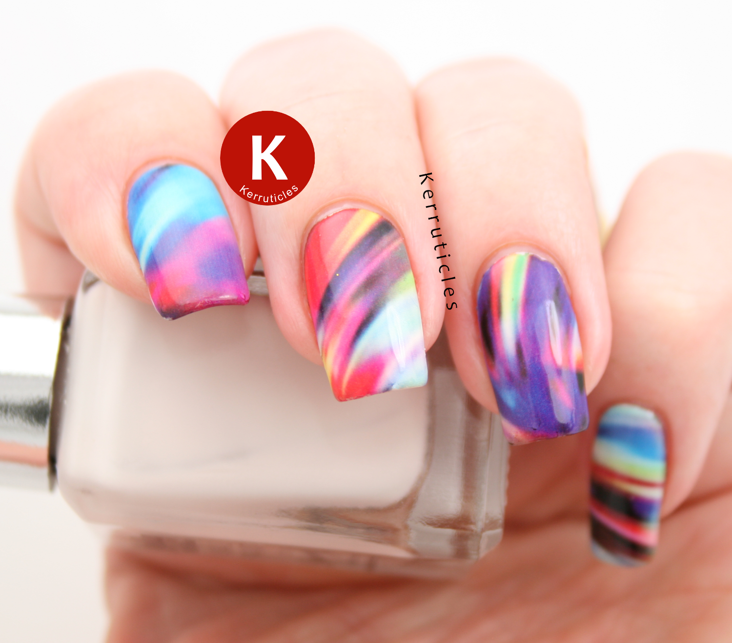 Born Pretty Store multi-coloured swirl pattern water decals