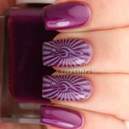 Purple and lilac music stamping, using Barry M Orchid, MoYou Nails Lilac and Born Pretty Store BP-47