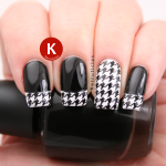 Black and white houndstooth tips