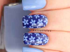 Blue daisies stamping using Nail Geek Clear Skies and Bundle Monster BM-XL05