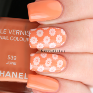 Peach and white flowers using Chanel June and Born Pretty Store BP-L015