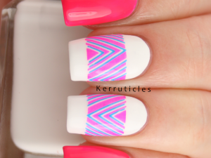 Essie Bottle Service with Born Pretty Store neon pink and blue chevron decals