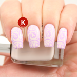 Lilac stamped nails