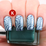 Metallic blue and green stamping