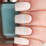 Pastel stripes using Barry M polishes in Coconut, Fondant, Full Throttle and Sky Blue