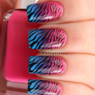 Pink, purple and blue gradient zebra