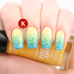 Stamped yellow, green & blue gradient